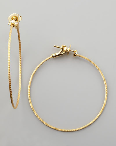 18k Yellow Gold Diamond Cluster Hoop Earrings, 40mm