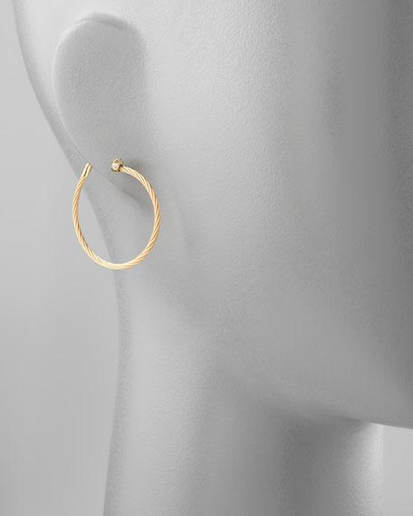 18k Yellow Gold Diamond Cluster Hoop Earrings, 30mm