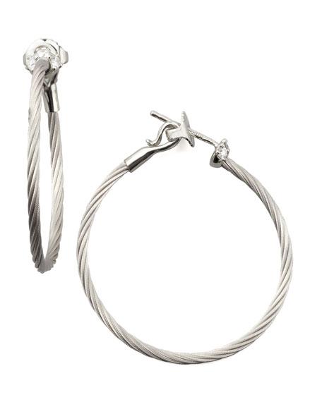 18k White Gold Diamond Cluster Hoop Earrings, 30mm