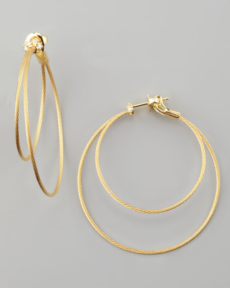 18k Yellow Gold Diamond Cluster Double-Hoop Earrings