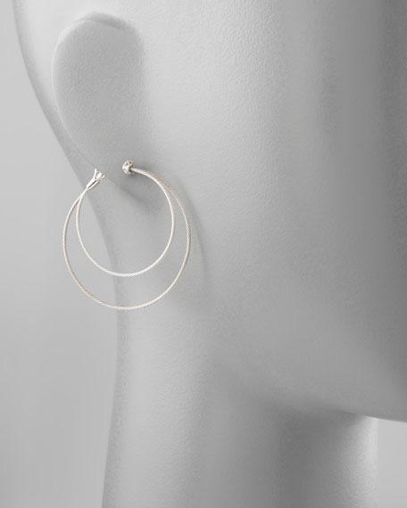 18k White Gold Diamond Cluster Double-Hoop Earrings
