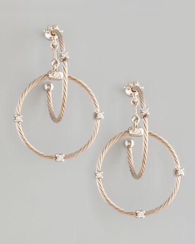 18k White Gold Diamond Link Earrings, 28mm