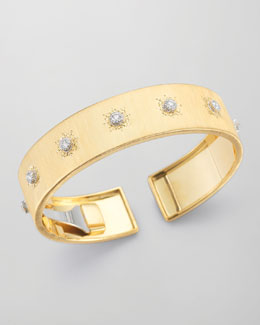 Buccellati Classica 18k Gold Cuff Bracelet with Diamonds, Large