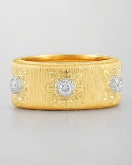 Buccellati Classica 18k Gold Band Ring with Diamonds