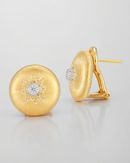 Buccellati Classica 18k Gold Small Button Earrings with Diamonds
