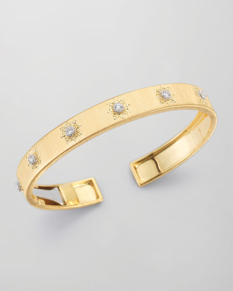 Classica 18k Gold Cuff Bracelet with Diamonds, Small