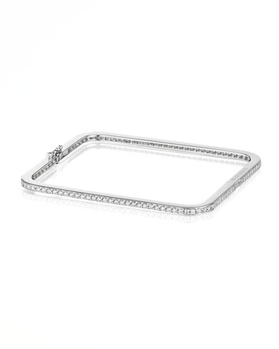 Piece 18k White Gold Diamond Bangle