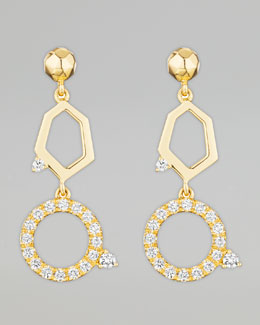 Mimi So Jackson Yellow Gold Diamond 2-Drop Earrings