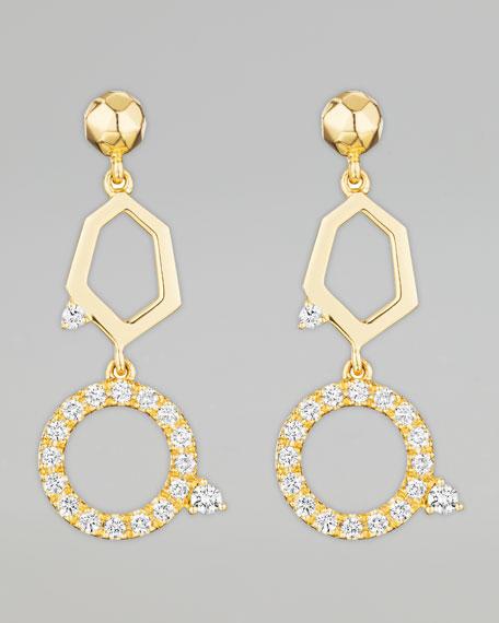 Jackson Yellow Gold Diamond 2-Drop Earrings