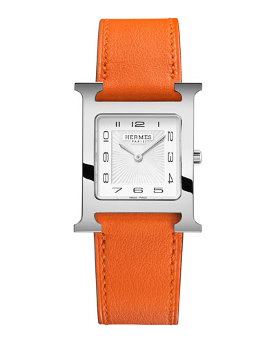Heure H, Stainless Steel & Leather Strap