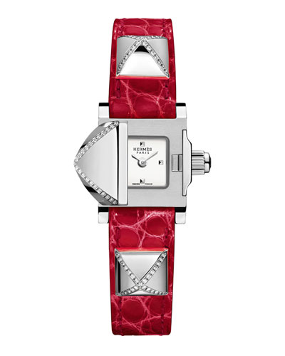 Medor Mini Watch with Diamonds & Red Alligator Strap