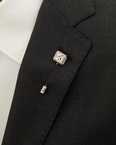 18K White Gold Lapel Pin with Champagne Diamonds