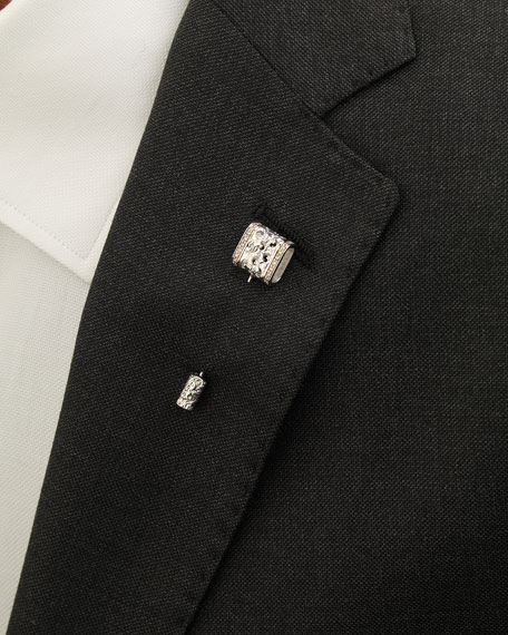 18K White Gold Lapel Pin with Champagne Diamonds