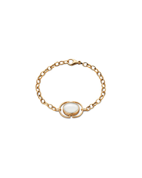Mother-of-Pearl Locket Station Bracelet in 18K Yellow Gold