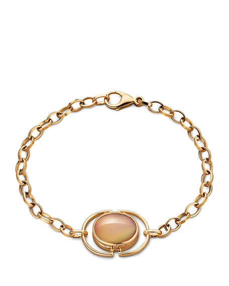 Cognac Mother-of-Pearl Locket Station Bracelet in 18K Yellow Gold