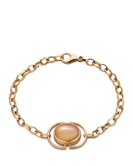 Cognac Mother-of-Pearl Locket Station Bracelet in 18K Yellow Gold