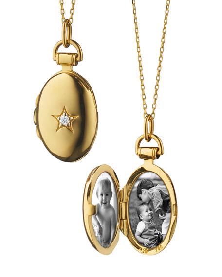 "18k Gold Petite Oval Locket Necklace with Diamond Star, 17""L"