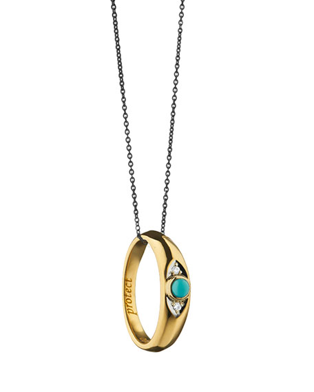 Protect Turquoise & Diamond Evil Eye Poesy Ring Necklace