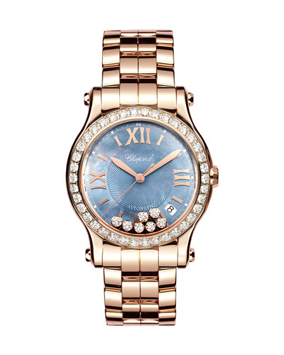 36mm Happy Sport 18k Rose Gold Bracelet Watch with Diamonds