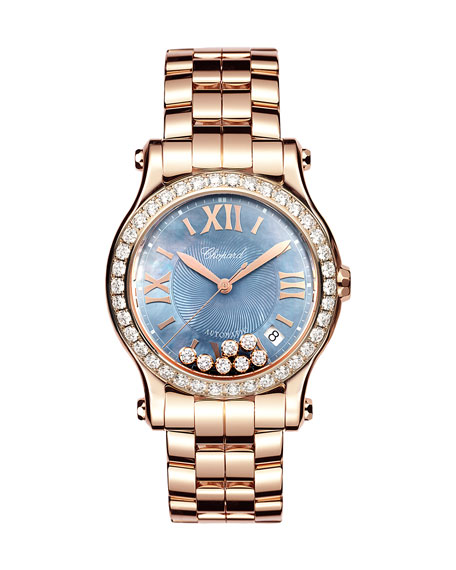 Chopard 36mm Happy Sport 18k Rose Gold Bracelet