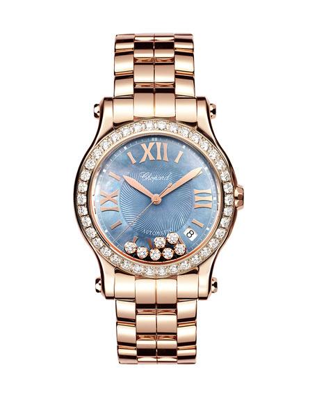 Chopard 36mm Happy Sport 18k Rose Gold Bracelet
