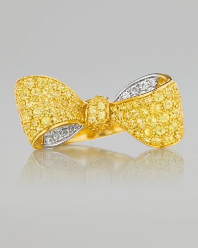 Mimi So Bow Small 18k Yellow Gold Sapphire & Diamond Ring