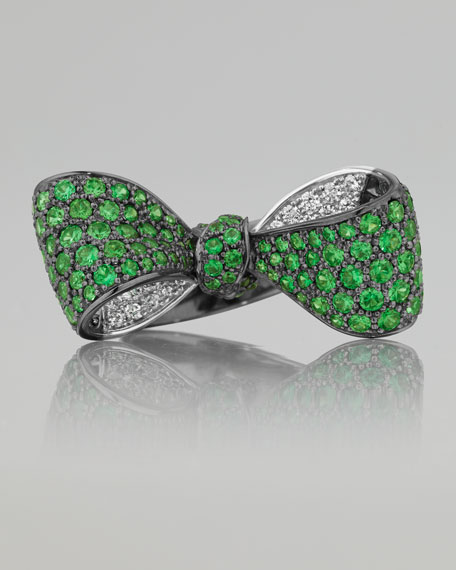 Bow Mid Size 18k Oxidized Gold Tsavorite & Diamond Ring