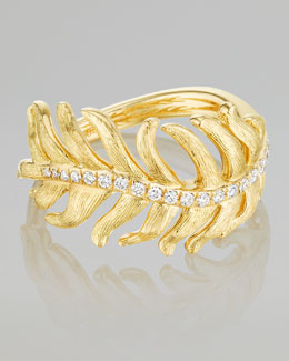 Mimi So Phoenix 18k Yellow Gold Diamond Feather Ring