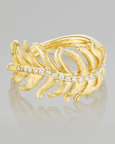 Phoenix 18k Yellow Gold Diamond Feather Ring