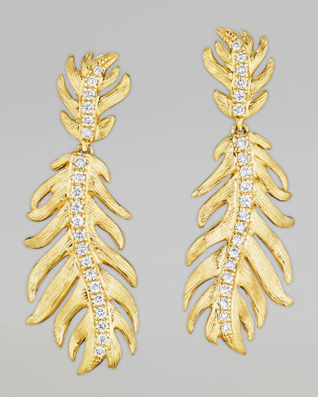 Phoenix 18k Yellow Gold Diamond Feather Earrings