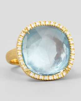 Marco Bicego Jaipur Sunset Diamond-Bezel Blue Topaz Ring