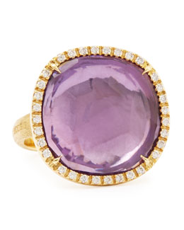 Marco Bicego Jaipur Sunset Diamond-Bezel Amethyst Ring