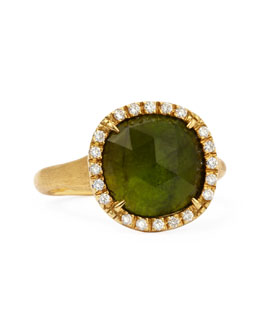 Marco Bicego Jaipur Sunset 18kt Gold Diamond Green Tourmaline Ring