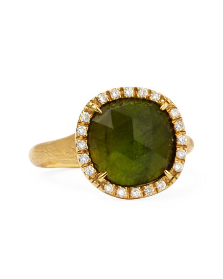 Jaipur Sunset 18kt Gold Diamond Green Tourmaline Ring
