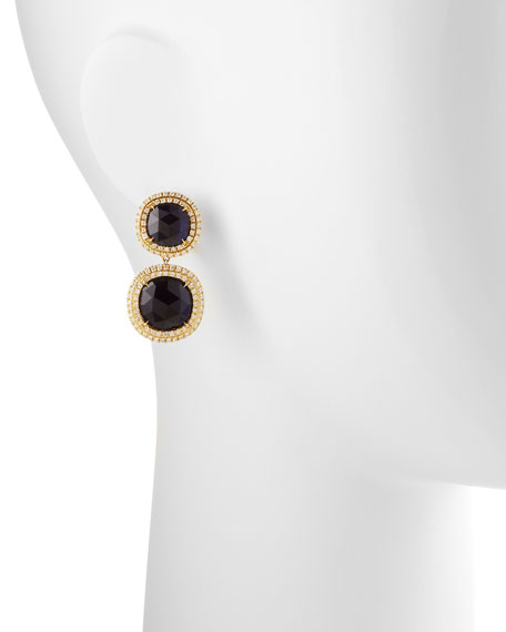 Jaipur Sunset 18k Double-Diamond-Bezel Iolite Earrings