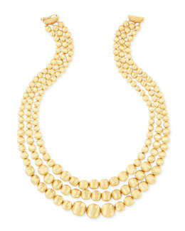 Marco Bicego Africa 18k Yellow Gold Three-Strand Bib Necklace
