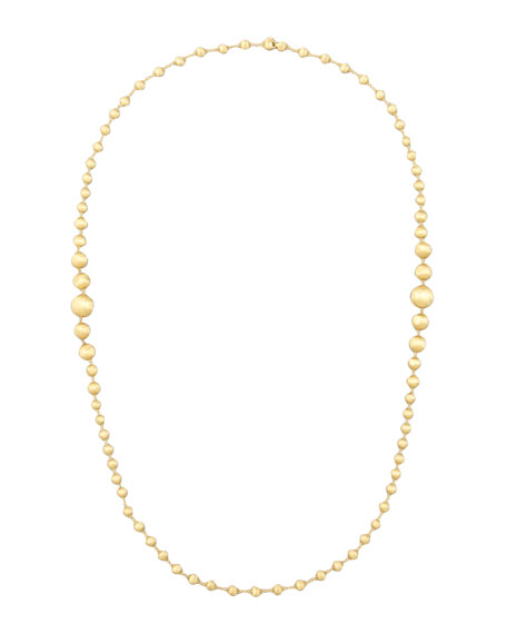 "Africa 18k Brushed Gold-Bead Necklace, 36""L"