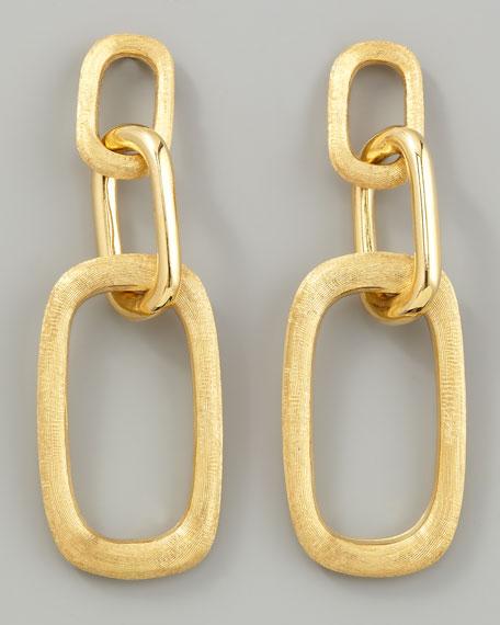 Murano 18k Brushed Gold Link Drop Earrings