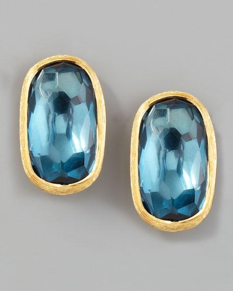 Murano 18k London Blue Topaz Stud Earrings, 15mm