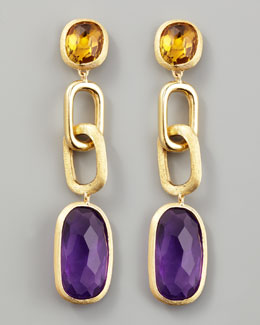 Marco Bicego Murano 18k Link Drop Earrings with Amethyst and Citrine
