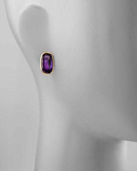 Murano 18k Amethyst Stud Earrings, 20mm