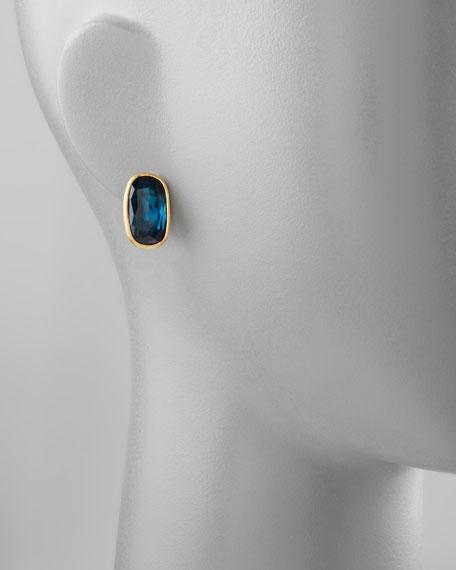 Murano 18k London Blue Topaz Stud Earrings, 20mm