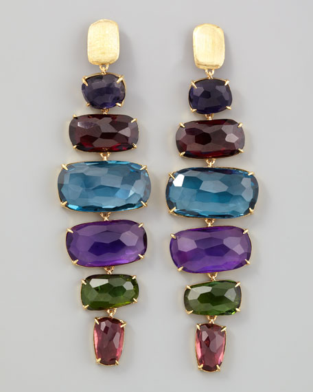 Murano 18k Six-Drop Semiprecious Earrings