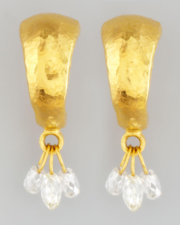 Dew Diamond Briolette Trio 24k Earrings