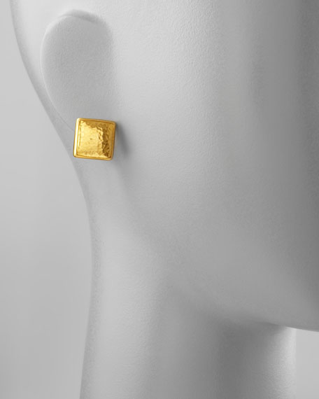 Amulet 24k Gold Square Stud Earrings