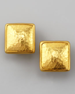 Gurhan Amulet 24k Gold Square Stud Earrings