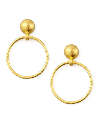 Geo 24k Hoop-Drop Earrings