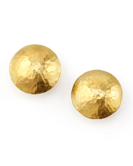 Lentil 24k Gold Round Stud Earrings