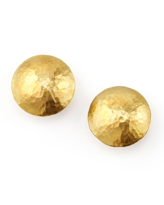 Lentil 24k Gold Round Stud Earrings