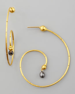 Gurhan Spring 24k Black Diamond Swirl Earrings